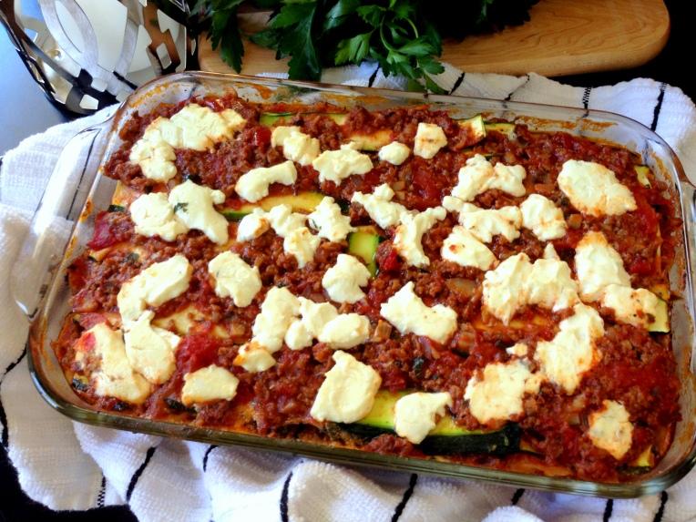 Meat, Veggie, & Goat Cheese Lasagna 1