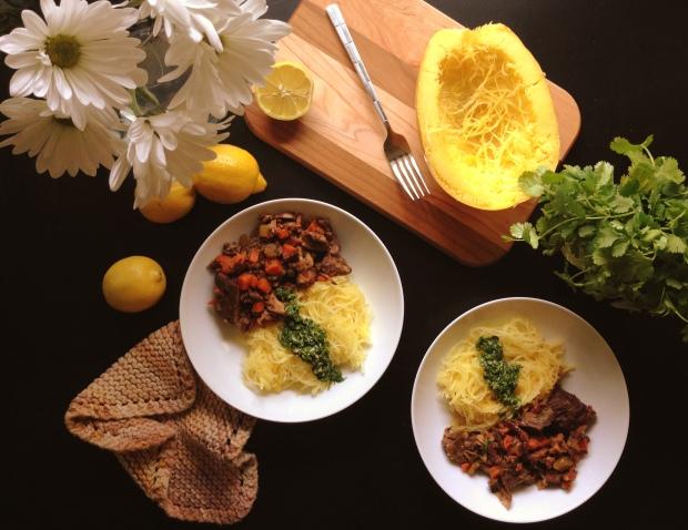 Slow Cooker Shortribs & Spaghetti Squash with Cilantro Pesto 1